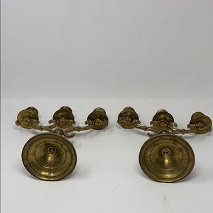 Vintage Accents - Vintage Brass Candelabra Set of 2